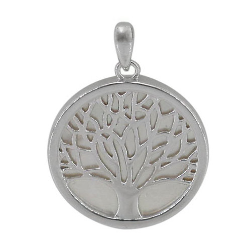 Sterling Silver Tree of Life on Mother of Pearl Pendant