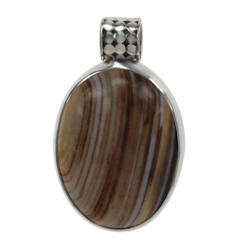 Sterling Silver Oval Brown Banded Agate Pendant