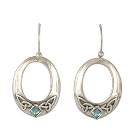 Sterling Silver Trinity with Blue Topaz Gemstone Circular Earrings