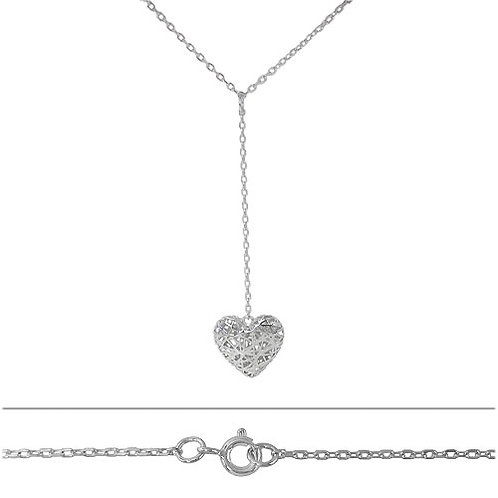 Rhodium Plated Sterling Silver Heart Charm Pendant Necklace