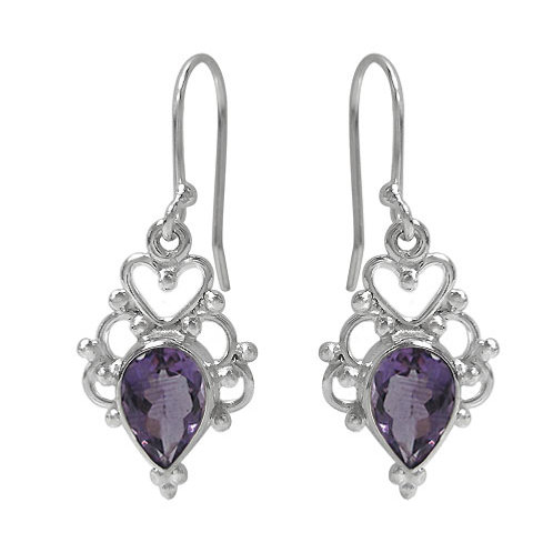 Rhodium Plated Sterling Silver Heart Detail Earrings with Amethyst