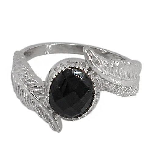 Sterling Silver Leaf with Onyx Ring
