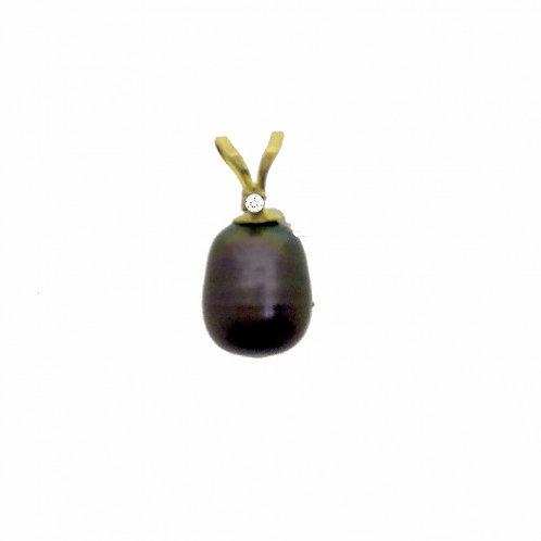14K Gold Cultured Black Drop Pearl Pendant with Diamond Pendant