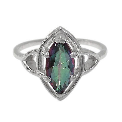 Rhodium Plated Sterling Silver Ring with Mystic Quartz (Size 7)