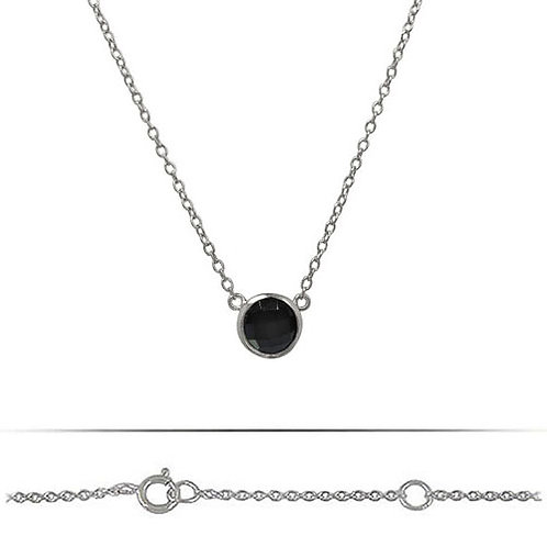 Rhodium Plated Sterling Silver Onyx Pendant Necklace