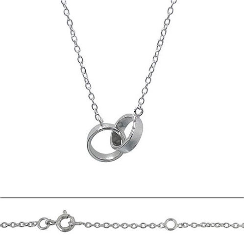 Rhodium Plated Sterling Silver Small Eternity Double Ring Pendant Necklace