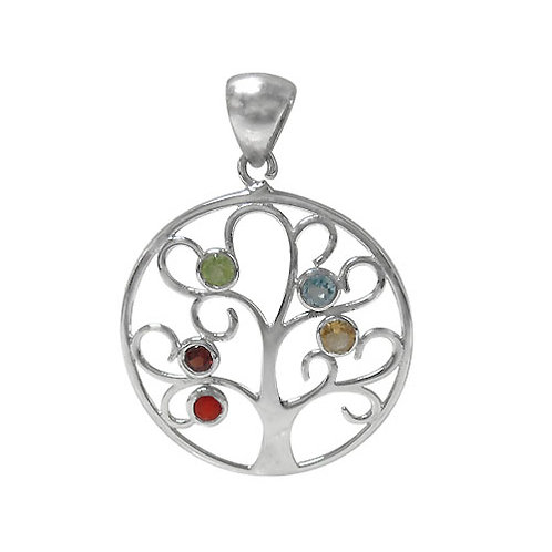 Rhodium Plated Sterling Silver Tree of Life Chakra Pendant with gemstones