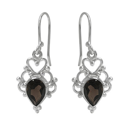 Rhodium Plated Sterling Silver Smoky Quartz with Heart Earrings