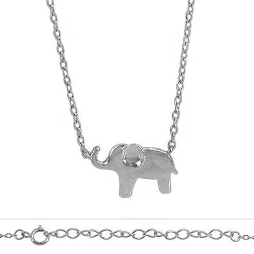 Rhodium Plated Sterling Silver Elephant Pendant Necklace