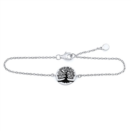 Rhodium Plated Sterling Silver Tree of Life Bracelet