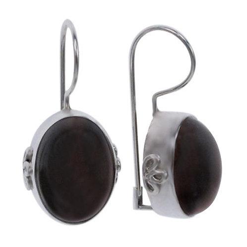 Sterling Silver Oval Tiger's Eye Earrings