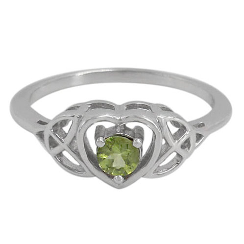 Rhodium Plated Sterling Silver Celtic Knot with Peridot Ring