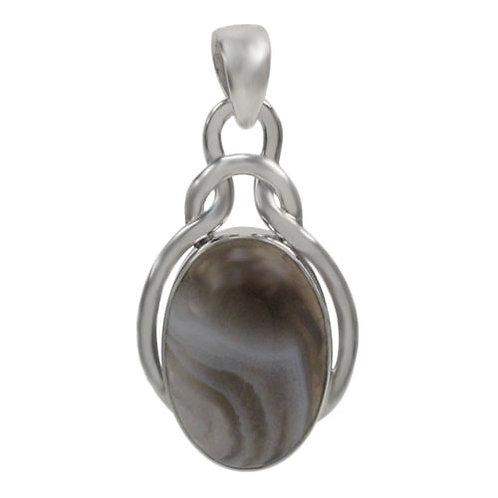 Sterling Silver Oval Botswana Agate Pendant
