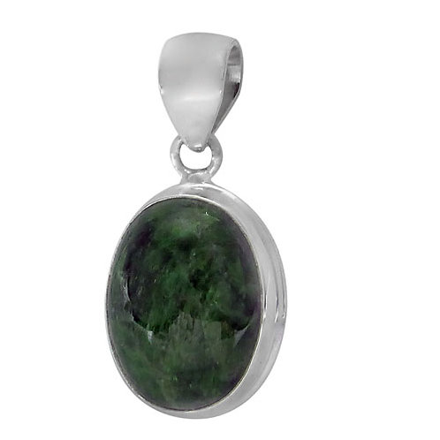 Sterling Silver Oval with Greenstone Pendant