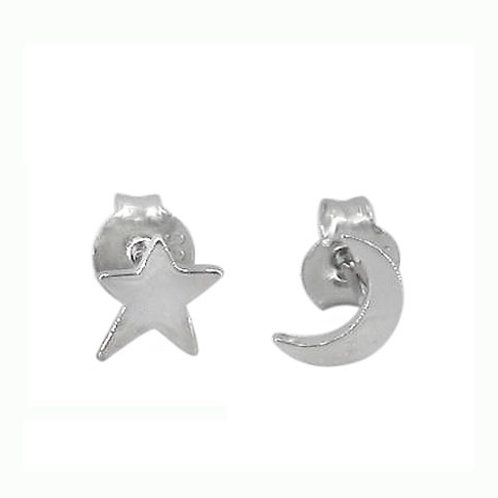 Sterling Silver Crescent Moon & Star Earrings