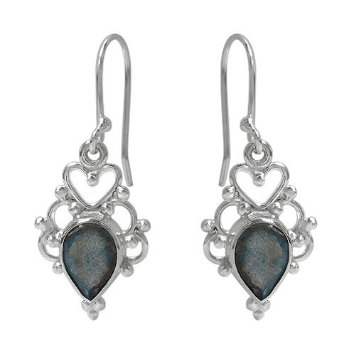 Rhodium Plated Sterling Silver Heart Detail Earrings with Labradorite Gemstones
