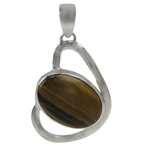 Sterling Silver Heart Shaped Pendant with Tiger Eye Stone