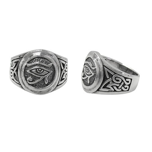 Sterling Silver Eye of Horus with Celtic knot Men's Ring (Size 9)