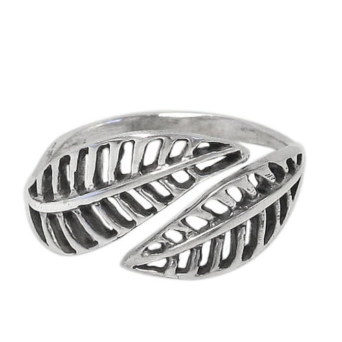 Sterling Silver Double Leaf Ring (Size 6.5)