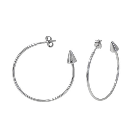 Rhodium Plated Sterling Silver Arrowhead Hoop Earrings