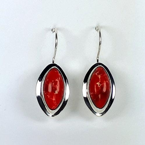 Sterling Silver Red Imperial Jasper Earrings