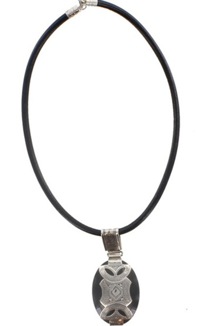 Fine Silver and Agate Tuareg Pendant Necklace on Leather Cord