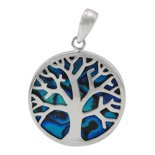 Sterling Silver with Abalone Tree of Life Round Pendant