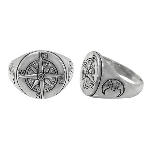 Sterling Silver Men's Compass Ring (Size 12)