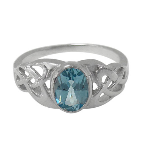 Rhodium Plated Sterling Silver Celtic Knot with faceted oval Blue Topaz