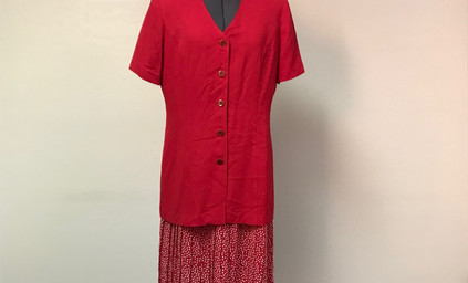 Red Dress with Pleated Polka Dot Skirt