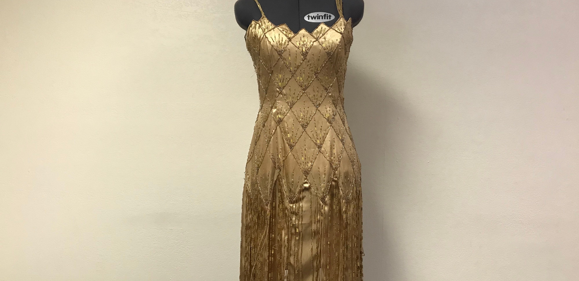 Gold Beaded 1920's Flapper Dress