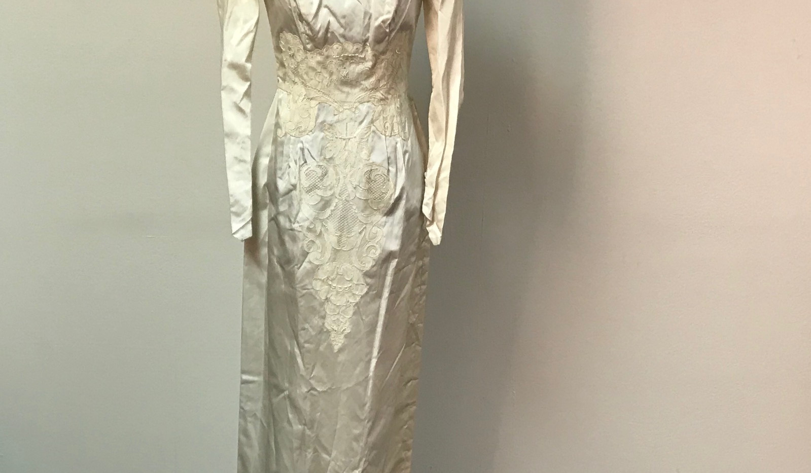 Cream Satin Dress with Lace