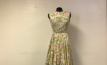 Pink and Yellow Sleeveless Floral Dress