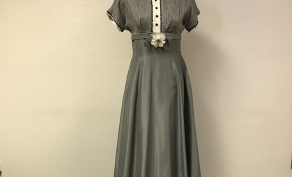 Grey and White Late 1930's dress