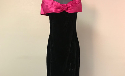 Black Party Dress with Pink Satin Bow