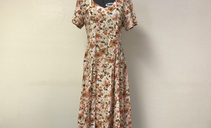 Brown and Pink Floral Late1930's Dress