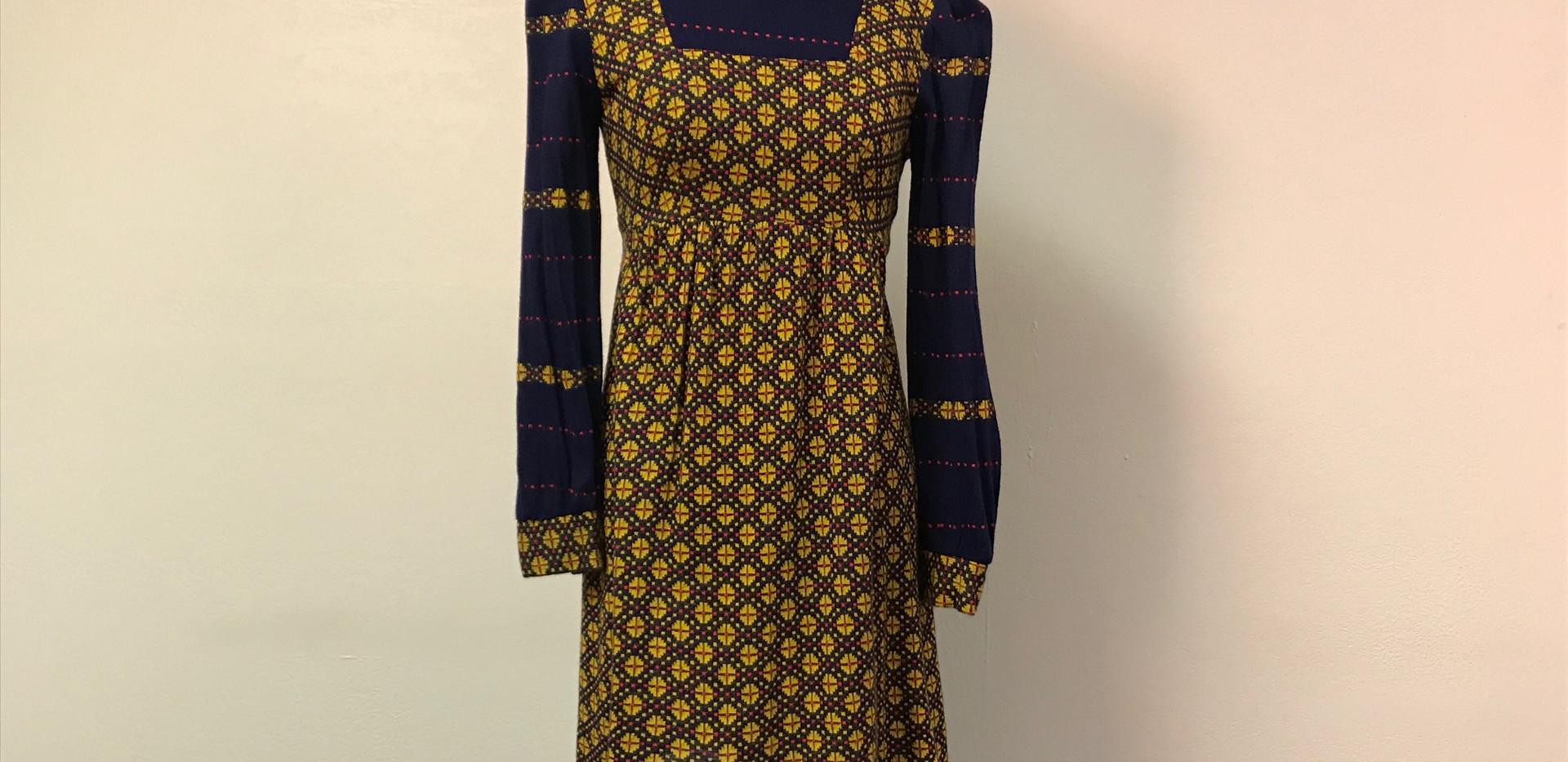 "Navy and Yellow Floral ""Peasant"" Dress"