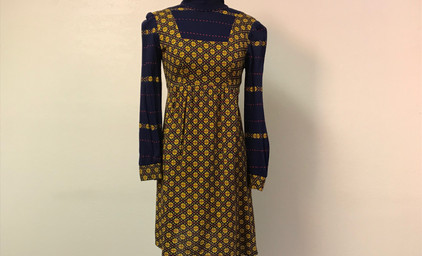 """Navy and Yellow Floral """"Peasant"""" Dress"""