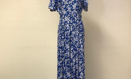 Blue Floral 1930's Dress