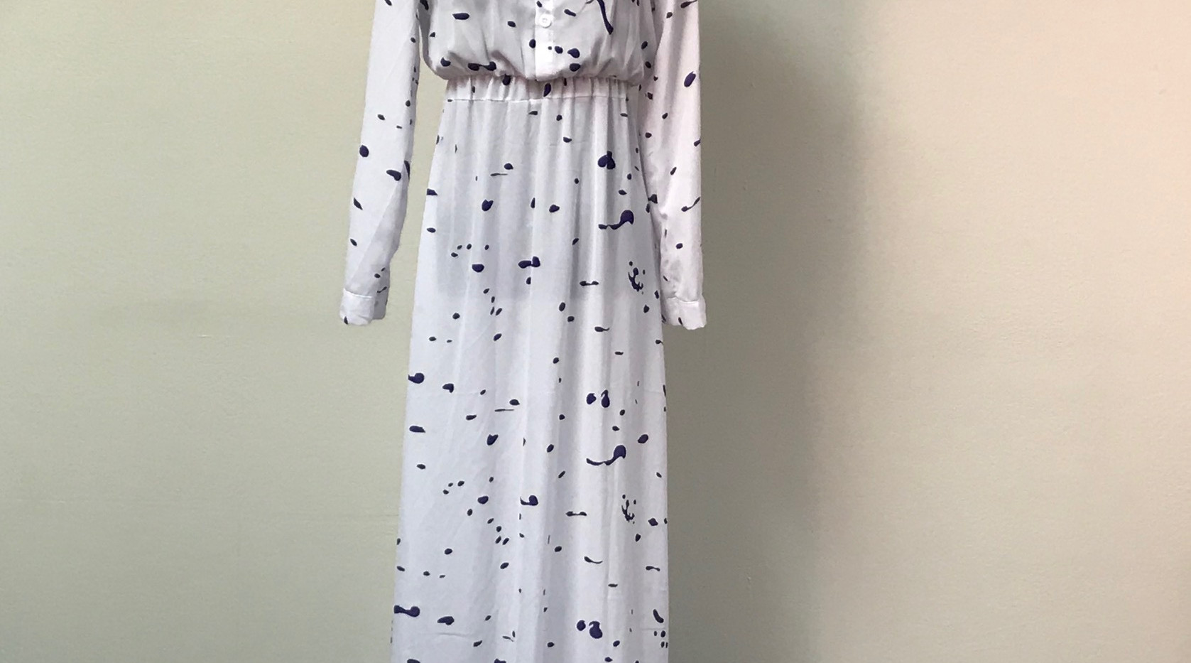 White Maxi Dress with Navy Splotches