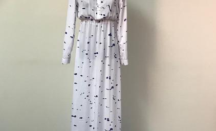 White Maxi Dress with Navy Splotches