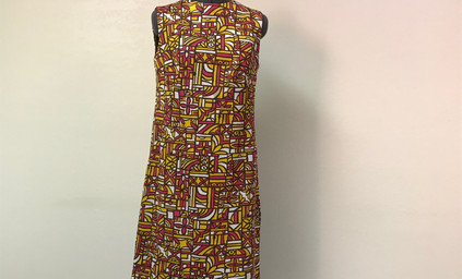 Yellow and Pink Abstract Sheath Dress