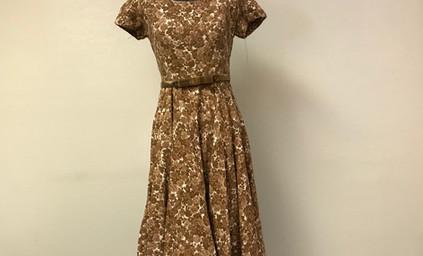 Brown Floral Dress with Velvet Belt