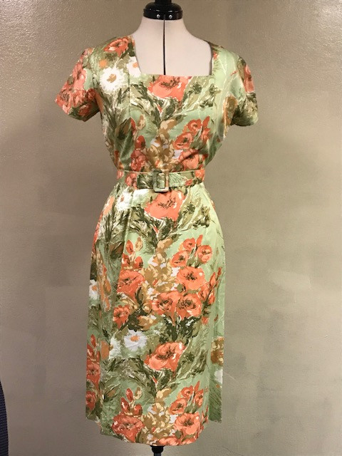 Green and Peach Floral Dress