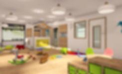 Des bébés, des tables pour enfant, l'intérieur de la creche bilingue montessori Claudine Olivier