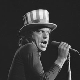 The Rollings Stones' Mick Jagger performs at the Oakland Coliseum Arena, November 1969