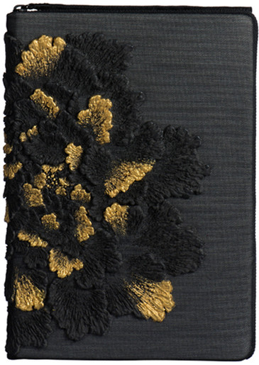 NOTEBOOK CASE_BLACK PEONY WITH GOLD