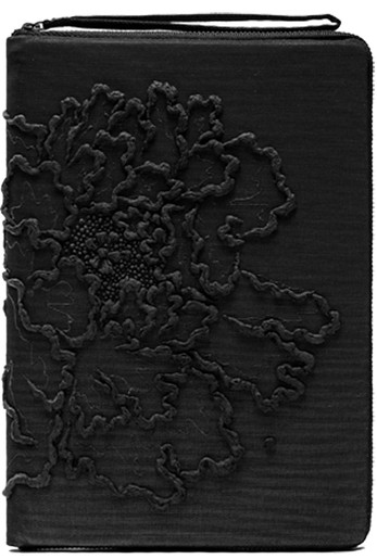 NOTEBOOK CASE_LINED PEONY IN BLACK