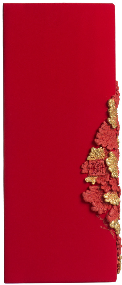 RECTANGLE CLUTCH_PEONY IN RED/GOLD