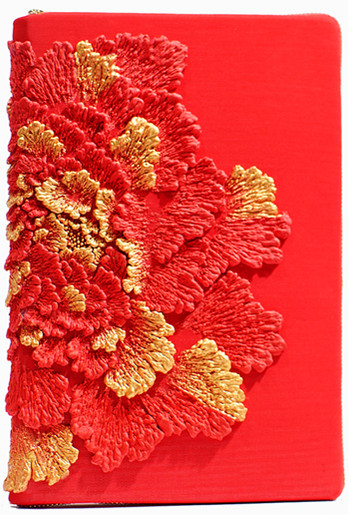 NOTEBOOK CASE_RED PEONY WITH GOLD